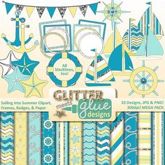 Sailing Into Summer Clipart, Frames, Badges & Paper - Sailboat Nautical Seashell - #clipart #summer #tpt #sailboat #nautical