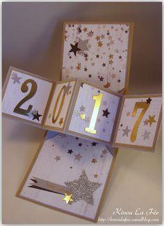 Carte Twist pop up étoiles 2 - Diego Diy Christmas Cards Pop Up, Xmas Cards, Diy Cards, Fancy Fold Cards, Folded Cards, Happy New Year Cards, New Year Cards Handmade, Karten Diy, Interactive Cards