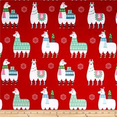 Michael Miller Minky Llama Navidad Llama Navidad Red from @fabricdotcom  This lovely minky fabric features a cozy low nap pile and is printed. It is perfect for apparel, blankets, throws, accents and stuffed animals. Colors include red, white, aqua, green, bubblegum pink, mint, black, and grey.