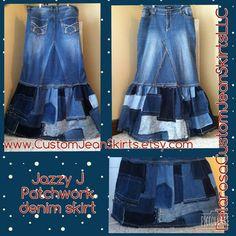 Jazzy J Patchwork maxi denim skirt Custom by CustomJeanSkirts