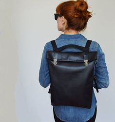 "15"" Minimalistic Leather Backpack / Leather Rucksack/ Laptop/ Messanger/ Tote/ Black / Minimalist/ Black/ Back to school"