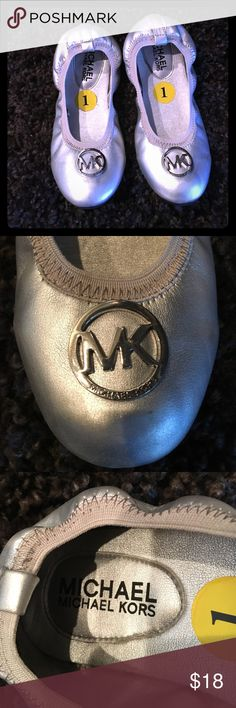 Michael Kors Shoes Girls Size 1 Only worn once,perfect practically new condition.No flaws or scuffs.Stretch Slipper style .Silver with Silver hardware. Michael Kors Shoes Dress Shoes