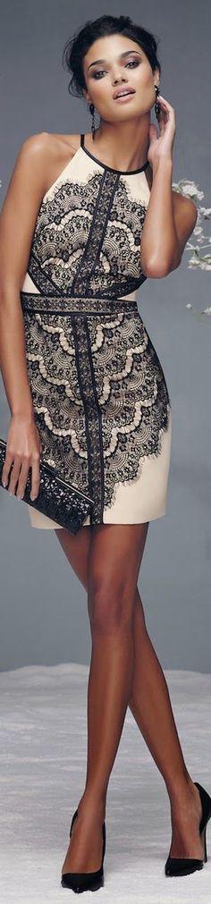 BEBE LACE HALTER DRESS