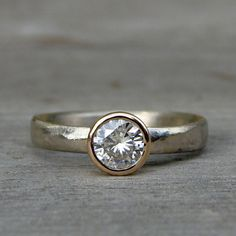 $898 Moissanite Engagement Ring Recycled 14k by McFarlandDesigns