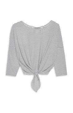Black And White Tie Front Tee Stripe