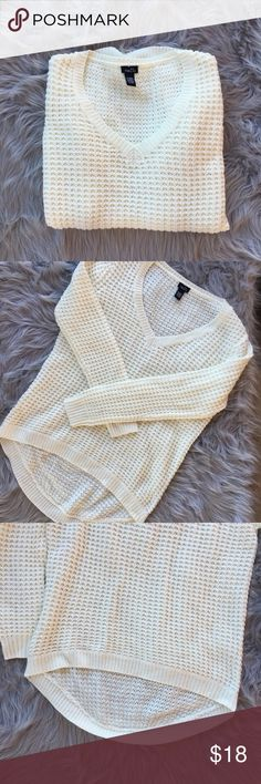White Sweater Never been worn. No holes, stains, or loose threads. White chunky sweater with high low and long sleeves. Not very sheer (as shown). Great with leggings and cute with jeans or skirt. Smoke free home.❕better deal on shipping if you bundle❕Feel free to ask questions! Rue 21 Sweaters V-Necks