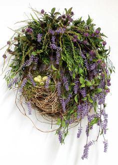 Country Wreath, Front Door Wreath, Everyday Wreath, Wildflowers, Bird Nest, Honeysuckle, Summer Wreath, Country Decor -- FREE SHIPPING
