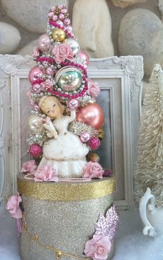 Marie Antoinette, Candy Box, Bottle Brush Tree,  Marie, pink Tree, Lefton Planter, hat box, Pink, mothers day. $125.00, via Etsy.