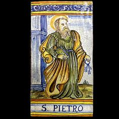 "This beautifully painted art tile by Ceramiche Simonetti depicting St. Peter with the keys to the Kingdom. It makes a unique and beautiful and memorable gift, it can be hung on the wall as is, framed as a piece of art or used as a trivet. Hand painted in the village of Castelli in Abruzzo, Italy. Size: 11.75"" tall, 6"" wide Tile Art, Tiles, Memorable Gifts, Keys, How To Memorize Things, Art Pieces, Hand Painted, Contemporary, Antiques"