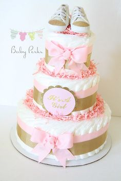 Pink and gold baby shower Pink and gold diaper cake  by MsPerks