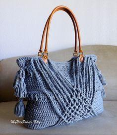 Crochet grey boho handbag with tassels woven by MyNicePurses,