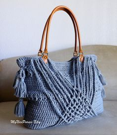 Crochet grey boho handbag with tassels, inspiration only #crochetbag #crochetinspiration
