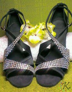 Salsa Shoes customised using Iridescent HotFix Crystals.