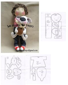 Cris Silva s photos Felt Doll Patterns, Plushie Patterns, Doll Clothes Patterns, Doll Toys, Baby Dolls, Cat Doll, Sewing Dolls, Soft Dolls, Fabric Dolls
