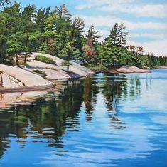 Acrylic on Canvas Grundy Provincial Park Landscape Quilts, Landscape Art, Landscape Paintings, Landscape Photography, Landscapes, Lake Painting, Spring Painting, Watercolor Landscape, Watercolor Paintings