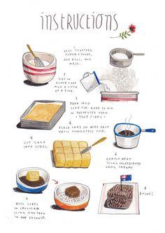 LAMINGTONS felicita sala illustration: illustrated recipes: april (with design sponge) Cupcake Illustration, Recipe Drawing, Aussie Food, Food Drawing, Cake Drawing, Food Journal, Kitchen Art, Food Illustrations, Food Art