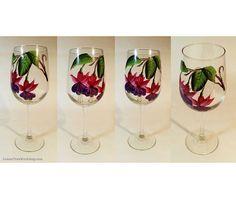 Hand Painted Fuchsia Wine Glasses 18.5 oz - Set of 4