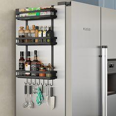 Spice Rack Storage, Kitchen Spice Racks, Storage Shelves, Wall Mounted Spice Rack, Fridge Shelves, Spice Rack Holder, Hanging Spice Rack, Wall Spice Rack, Ikea Spice Rack