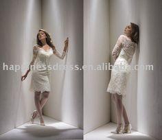 Satin Short Wedding Dress   ... beautiful_lace_long_sleeve_satin_short_bridal_wedding_dress_CW6115.jpg
