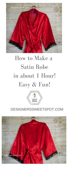 How to Sew a Satin Robe in about 1 Hour@designerssweetspot.com - silk camisole intimates, white lingerie panties, panties and lingerie *ad