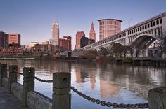 This was taken from the bank of Cuyahoga River looking towards the Cleveland, OH skyline and the Veterans Memorial Bridge. Cleveland Skyline, Cleveland Rocks, Cleveland Ohio, Cleveland Wedding, City Landscape, Urban Landscape, Medina Ohio, Shaker Heights, County Seat