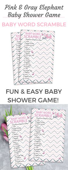 ThesePink and Gray Elephant ThemedWord Scramble Game Cards are perfect forGirl Baby Showers.