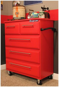 A toolbox-inspired dresser for a manly little boy's room