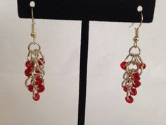 Bead chainmail cluster earrings  https://www.etsy.com/listing/223522648/red-cluster-dangle-earrings-red-beaded