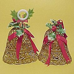 1940s Ornate Gold Plastic Bell Christmas Tree Ornaments. Mid 20th Century 1950s 1960s Holiday Decorations.