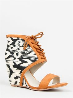 Fashion Week Style 2014 - bohemian black and white print with leather open toe shoelaces -  www.wcbeez.com