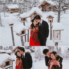 Bride and groom smile and laugh while they embrace standing in the snow in Finland with wooden bird houses surrounding them and the bride wears a red dress by Maria Hedengren Photography Winter Wedding Inspiration, Engagement Photo Inspiration, Engagement Photos, Norway Christmas, Wooden Bird Houses, Happy Photos, Smiles And Laughs, Wedding Shoot, Finland