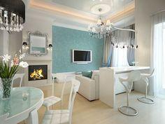 Палитра - белый как фон плюс светлый оттенок серого, и бирюза для акцента. Размещение барной зоны за диваном перед телевизором плюс отдельная обеденная зона.