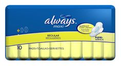 Always maxi pads thin regular with wings - 10 pads / pack, 12 pack