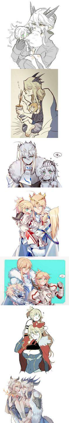 FGO Arthuria and Mordred