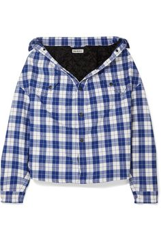 Blue and white cotton-flannel Snap fastenings through front cotton; lining: cupro; Denim Dye, Balenciaga Shirt, Virtual Fashion, Winter Fits, Flannel Shirt, Printed Cotton, Women Wear, Cute Outfits, Blue And White