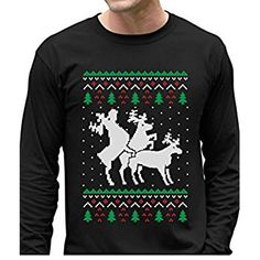 Funny Ugly Christmas Sweater Party Humping Reindeer Long Sleeve T-Shirt XX-Large Black