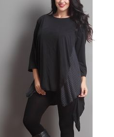 Loving this Black & Charcoal Layered Sidetail Tunic - Plus on #zulily! #zulilyfinds