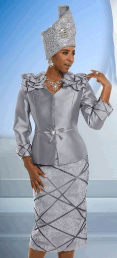 "Amazing 2-Pieces Women's Skirt Suit Made in Exclusive Novelty Fabric The Jacket is 24"" and the Skirt 30""  Large Rhinestone Buckle Donna Vinci Spring Catalog 201"