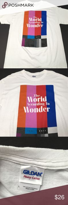The World According to Wonder Book Shirt Hollywood A nice companion to the hardcover book by production company World of Wonder Brand New condition  Please check measurements for fit reference  Smoke and pet-free storage Happy to answer any questions Thanks for looking Gildan Shirts Tees - Short Sleeve