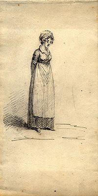 The early nineteenth-century maid. By William Brocas (1762-1837), pencil drawing c.1800 (National Library of Ireland)