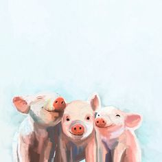 'Three Little Piggies' Painting Print on Canvas