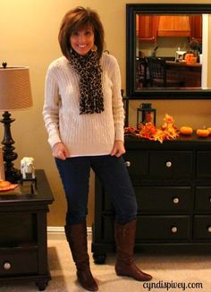 Cute boots!  Love the scarf, too!