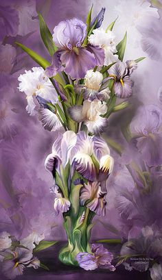 Heirloom Iris inside an antique vase vintage beauties your colors sublime growing like fading memories from a bygone time.  Heirloom Iris In Iris Vase prose by Carol Cavalaris  This painting of Heirloom bearded iris in muted shades of mauve, lavender, purple, and white, inside a matching vintage iris vase, is from the Flowers In Fancy Vases collection of art by Carol Cavalaris.