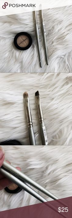 Sephora Eye Brush Bundle + Shadow • brand: sephora  • condition: used once each  • size: full size  • description: set or 2 professional brushes + eyeshadow. see photos for full condition.    • trying to downsize my closet! bundle to save 💰 + accepting reasonable offers, happy shopping! Sephora Makeup Brushes & Tools