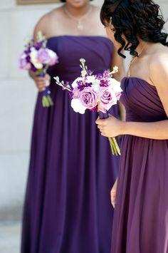 beautiful purple bridesmaids from Jamaal & Cheree's Purple & Gold Washington, DC wedding