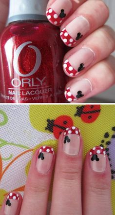 Minnie Mouse Dots 22 Easy Nail Art Designs for Short Nails DIY Nail Art for Short Nails Tutorial Cute Nail Art, Nail Art Diy, Easy Nail Art, Cute Nails, Simple Nail Art Designs, Short Nail Designs, Cute Nail Designs, Nail Art For Kids, Chevron Nails