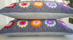 set of 2 crochet granny square cushion covers/ by handmadebyria