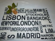 4 Metro Cities Placemats with Black on White by WickedWalls