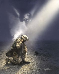 Not Alone by Danny Hahlbohm is an unframed Christian art print that makes a great addition to any home décor. This artwork depicts an angel watching over a soldier. Military Quotes, Military Love, Military Police, Catholic Pictures, Army Mom, Angels Among Us, Military Veterans, Real Hero, American Soldiers