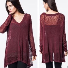 Burgundy Fall Sweater Perfect sweater for the fall! Lightweight and a gorgeous burgundy plum color. Open knit leaving this airy enough that you can layer. Size S/M. Oversized fit. Sweaters V-Necks